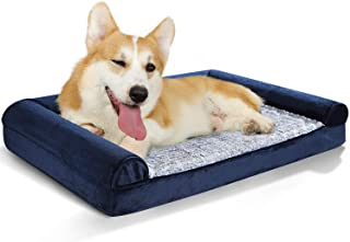 Rabbitgoo Dog Bed Orthopedic Pet Bed, Washable Dog Couch Sofa Bed with Removable Cover & Waterproof Liner, Anti-Slip Soft Foam Pet Bed for Medium Dogs Cats Home Sleep, Joint-Relief Bolsters (36x27in)