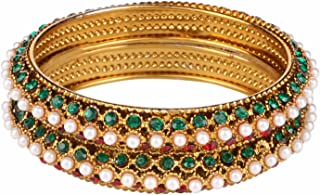 Indian Stylish Gold Plated Traditional Pearl Bangles Set Jewelry for Girls and Women