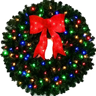 3 Foot Multi-Color L.E.D. Christmas Wreath with Pre-lit Red Bow - 36 inch - 100 LED Lights - Commercial Grade - Indoor - Outdoor