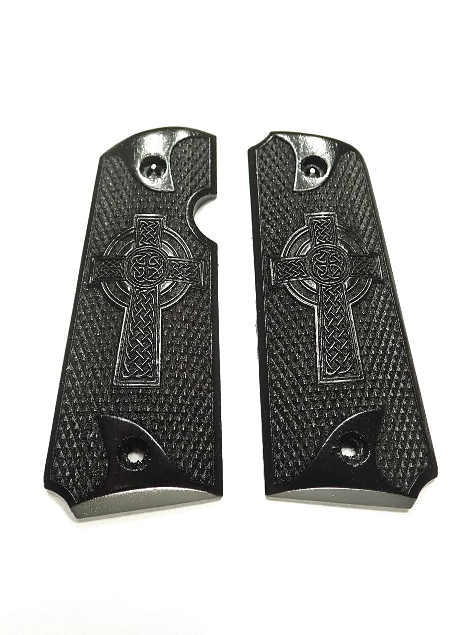 Celtic Cross Ebony Rock Quantity limited Island Grips Store 380 Textured Engraved 1911
