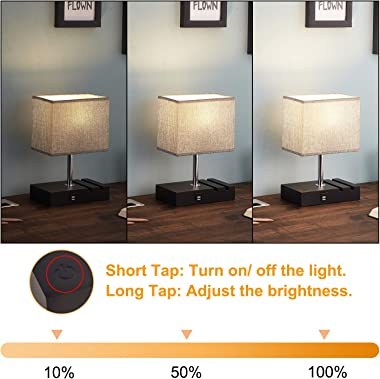 Touch Control Bedside Lamp with 2 USB Ports, Aooshine Fully-Dimming USB Table Lamp with 2 Phone Stands and Low Voltage Led Bu