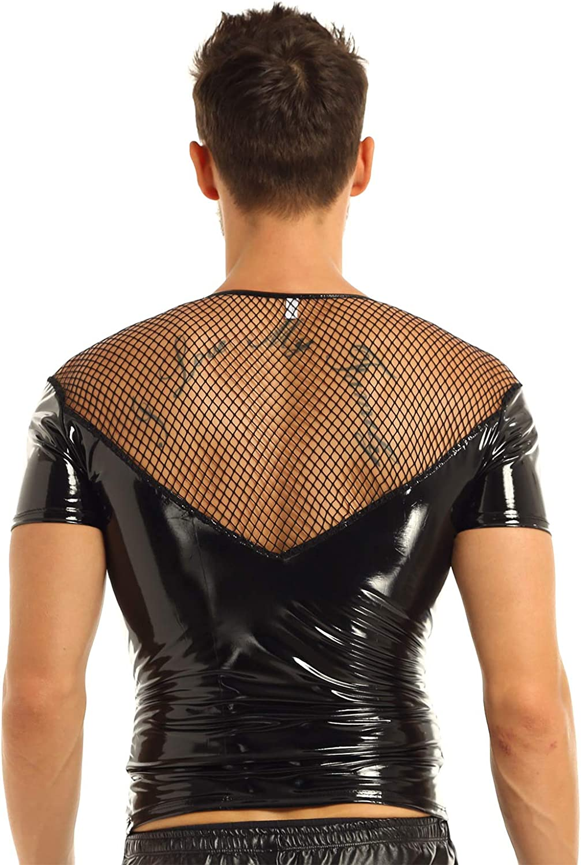 dPois Mens Shiny Wetlook Leather Fishnet Splice Short Sleeve Muscle Slim Fit Clubwear Tops Shirt