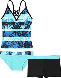 Nimiya Kids Girls 3 Pieces Swimsuit Floral Printed Criss Cross Tops with Shorts Bottoms Tankini Bathing Suit