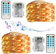 String Lights with Battery,100led Music Fairy Lights with Remote Control,32.8ft 12 Modes and Timer, Sound Activated Led St...