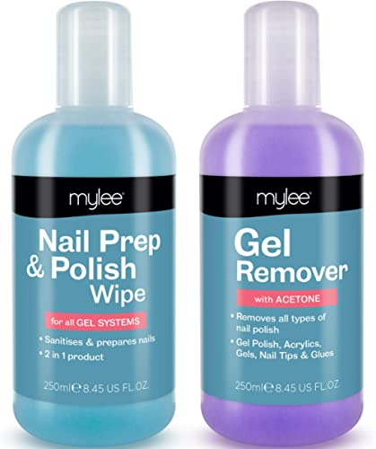 Mylee Prép et nettoyant + Dissolvant qualité salon, Manucure et pédicure avec systèmes UV LED, Dissolvant professionn...