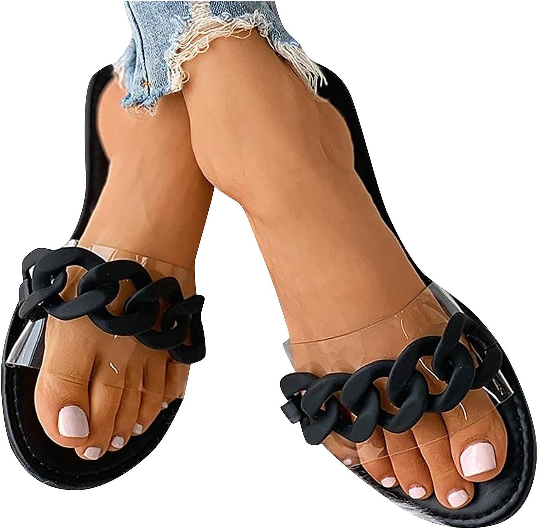 Bravetoshop Women's Clear Flat Slides Sandals Open Toe Slippers Cute Slip On Summer Shoes