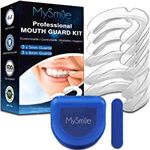MySmile Moldable 4 In 1 Mouth Guard Professional Custom Fit Dental Night Guard 6-Pack 2 Sizes Kit with Travel Hygiene Case and Molding Stick for Teeth Grinding Athletic Protection and Whitening Tray