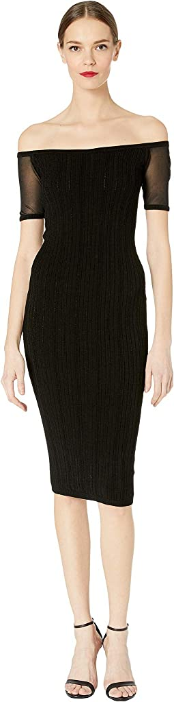 Strapless Knit Pencil Dress with Sheer Short Sleeve