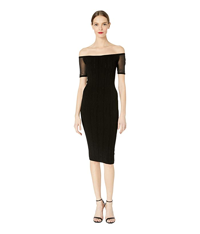 Cushnie Strapless Knit Pencil Dress with Sheer Short Sleeve (Black) Women