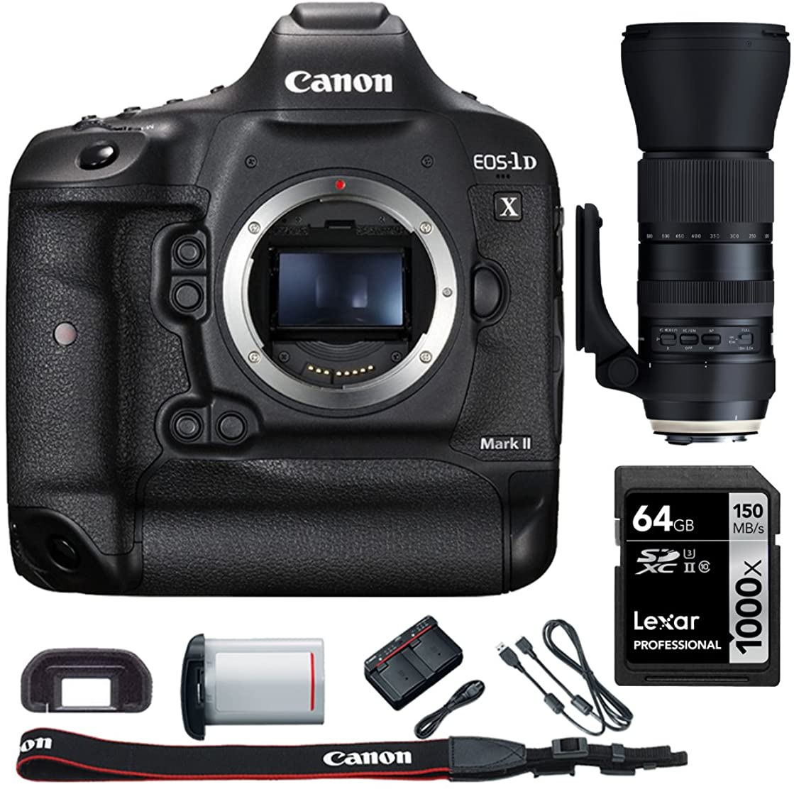Canon EOS-1D X Mark II Digital SLR Camera Body with Bundle Includes, Tamron SP 150-600mm F/5-6.3 Di VC USD G2 Zoom Lens for Canon Mounts + Lexar 64GB 1000x SDHC/SDXC Class 10 Memory Card