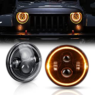 DOT Approved 7 Inch LED Halo Headlights for Jeep Wrangler JK TJ LJ 1997-2018, CREE LED Chip, 80W 9600 Lumens Hi/Lo Beam with DRL Amber Turn Signal Light and Halo Ring Angel Eyes 2PCS(White+Yellow)