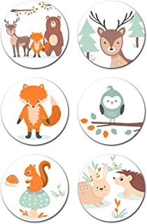 Woodland Stickers (Pack of 324) - Birthday Party Labels Favor Decorations Supplies - Boy or Girl - Forest Animals Owl Fox Deer