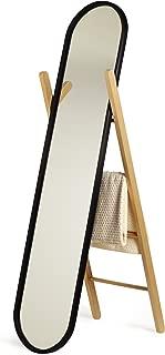 Umbra Hub Floor Length Mirror with Storage Rack, Modern Black Rubber Rim and Solid Wood Storage Ladder, Black/Natural Finish