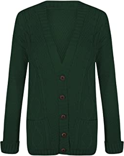 Womens Ladies Long Sleeves Plus Size Cable Chunky Knitted Grandad Button Cardigan