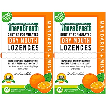 TheraBreath Dry Mouth Lozenges with ZINC, Flavor, 100 Lozenges, Mandarin Mint, 200 Count (Pack of 2)