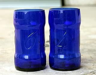 BLUE/GREEN Beer Bottle Drinking Glasses Made From a Kronenbourg/Kronenberg 1664 (SET OF 2)