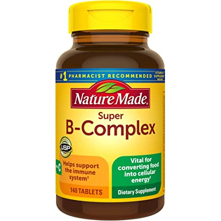 Nature Made Super B-Complex with Vitamin C Tablets, 140 Count Value Size for Metabolic Health (Packaging May Vary)