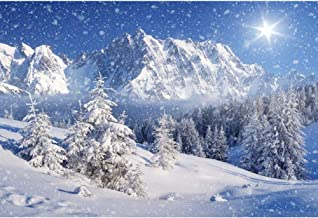 YongFoto 7x5ft Snow Mountains Photography Backdrop Winter Forest Christmas Trees Blue Sky Background Snowflake Sunshine Holiday Travel New Year Banner Kids Adults Portraits Photo Studio Props