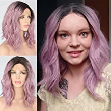 Sapphirewigs Short Dark Ombre Pink Purple Curly Water Wave Fashion Blogger Daily Makeup Synthetic Lace Front Party Wigs