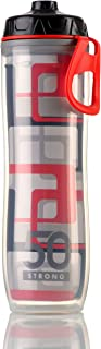 Insulated Bike Water Bottle - 24 oz. Sports Bottle With One-Way Valve - Double Walled Plastic Design Keeps Drinks Cold - BPA Free - Lightweight - Perfect for Hiking - Leak Proof Cap - Made in USA