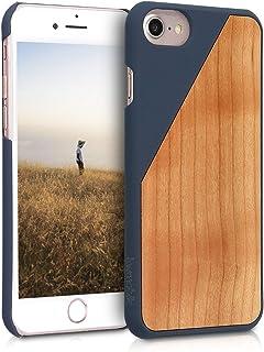 kwmobile Funda para Apple iPhone 7 / 8 - Carcasa de {madera} - Case trasero protector {duro} con diseño de madera bicolor