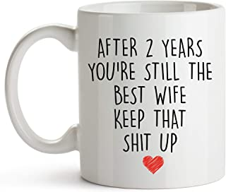 YouNique Designs 2 Year Anniversary Coffee Mug for Her, 11 Ounces, 2nd Wedding Anniversary Cup For Wife, Two Years, Second Year, 2nd Year