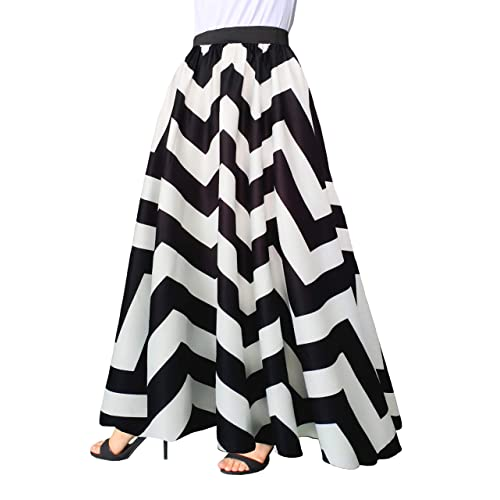 479db696c7 Afibi Women Chiffon Mopping Floor Length Big Hem Solid Beach High-Waist Maxi  Skirt