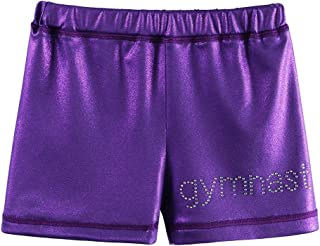 BAOHULU Girls Gymnastics Shorts Sparkle Metallic Athletic Dancewear 4-12Y