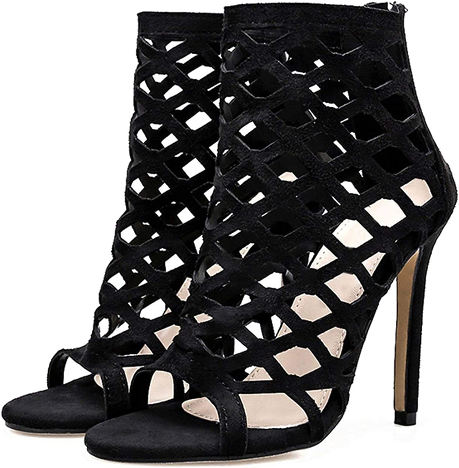 Women shoes High Heeled Open Toe Black Party shoes Sandals Hollow Out Thin Heels Beach Evening Pumps