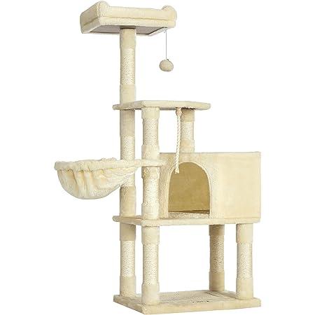FEANDREA キャットタワー 猫タワー 麻紐 下部に爪とぎボード用意 子猫 シニアも遊べる 段差あり NPCT60M