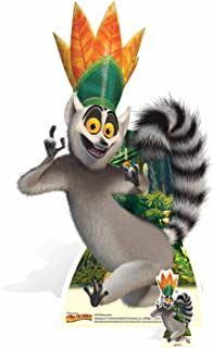 STAR CUTOUTS SC970 King Julien Cartoon Animated Ring Tailed Lemur with Eyes Cut-Out, Grey/Yellow