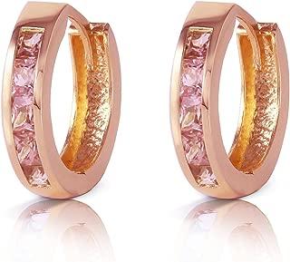 1.3 CTW 14K Solid Rose Gold Hoop Huggie Earrings Pink Sapphire