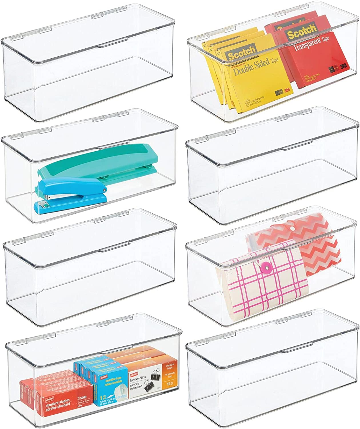 mDesign Plastic Stackable Home Organize Max 51% Gifts OFF Storage Supplies Office