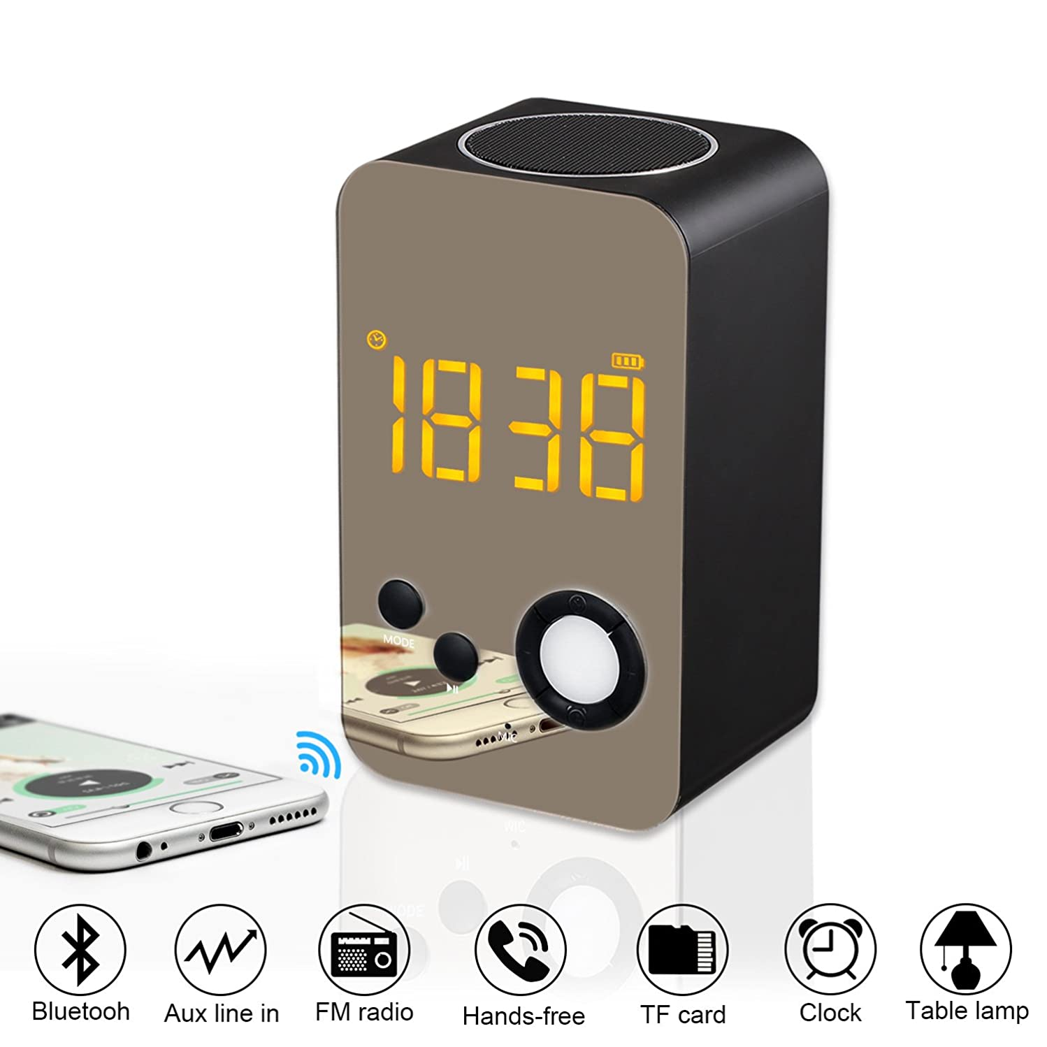 Alarm Clock Bluetooth Speaker - XREXS Wireless Bluetooth Speaker with Night Light,FM Radio, Portable Wireless Stereo Sound Speaker with LCD Screen HD Enhanced Bass, Built-in Mic Support FM AUX TF