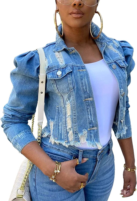 Mialoley Ripped Denim Jacket for Women Puff Sleeve Crop Top Slim Jean Jacket Coat