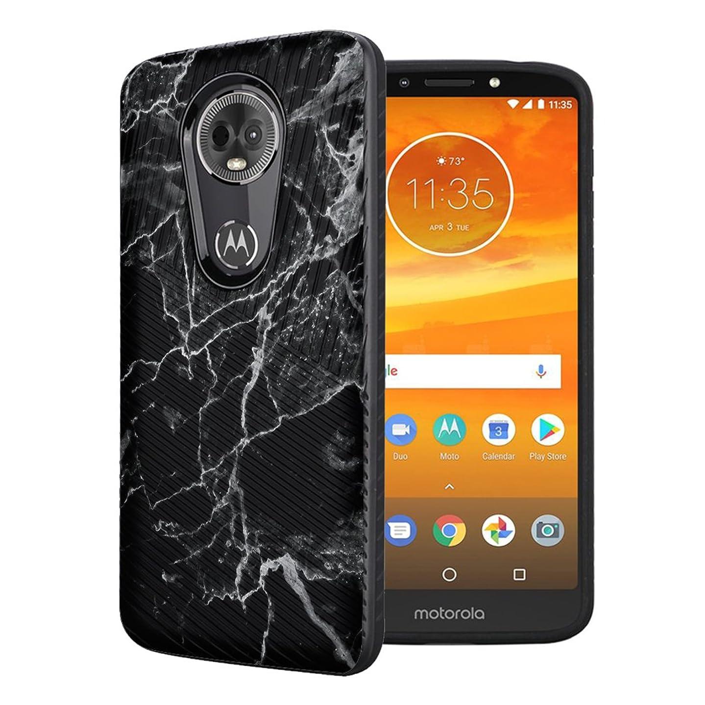 Moriko Case Compatible with Moto G7 Power, Moto G7 Supra [Embossed Diagonal Lines Hybrid Slim Armor Black Case] for Motorola Moto G7 Power - (Black Marble Print)