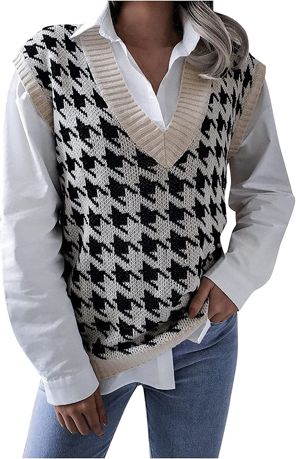 V Neck Sweater Vest For Teen Girls,Graphic Print Knit College Style Tank Tops Sweatshirt,Trendy Comfy Shirt Pullover