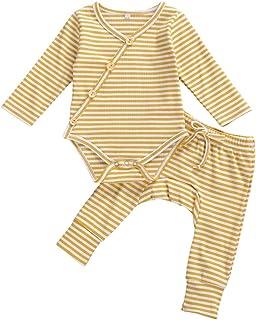 Newborn Baby Boy Girl Fall Clothes Stripe Kimono Long Sleeve Knit Romper Top+Harem Pants Pajamas 2PCS Ribbed Outfit Set