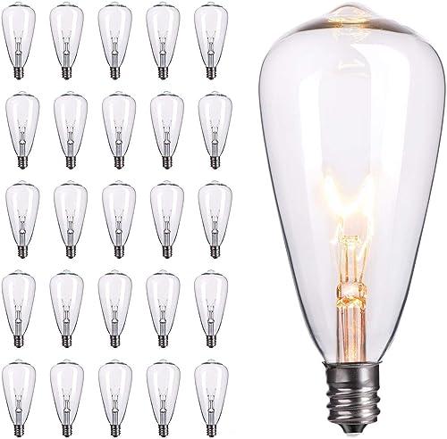 25-Pack Edison Replacement Light Bulbs,7-Watt E12 Candelabra Base ST40 Replacement Clear Glass Light Bulbs for Outdoo...