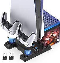 Suporte para ventilador de refrigeração com portas de carregador para console PS5 e controladores, base de carregamento co...