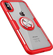 UNIYA Compatible with iPhone X/XS Case, Transparent PC+TPU with Magnetic Car Patch 360 Rotation Ring Holder Case