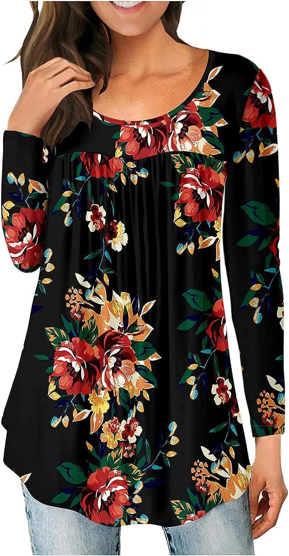 iQKA Women Tunic Tops Floral Print Long Sleeve Crewneck Curved Hem Shirts Flowy T-Shirt Blouse Basic Tee