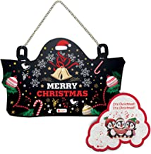 Indigifts Christmas Home Decoration Items Merry Christmas Printed Wall/Door Hanging 8 X12.5 Inches - Christmas Décor Items, X Mas Decorations for Home, Christmas Gifts for Friends (Black + Magnet)
