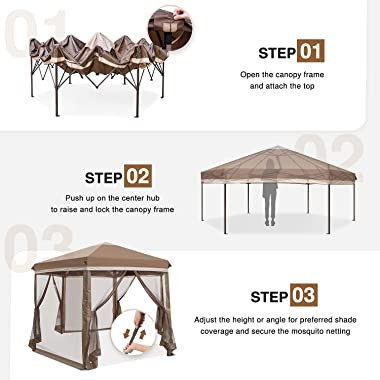 COOS BAY 6 Sided Hexagon Pop Up Gazebo Tent w/ Mosquito Netting (90 Square Feet of Shade) Easy Setup Center Push Outdoor Inst