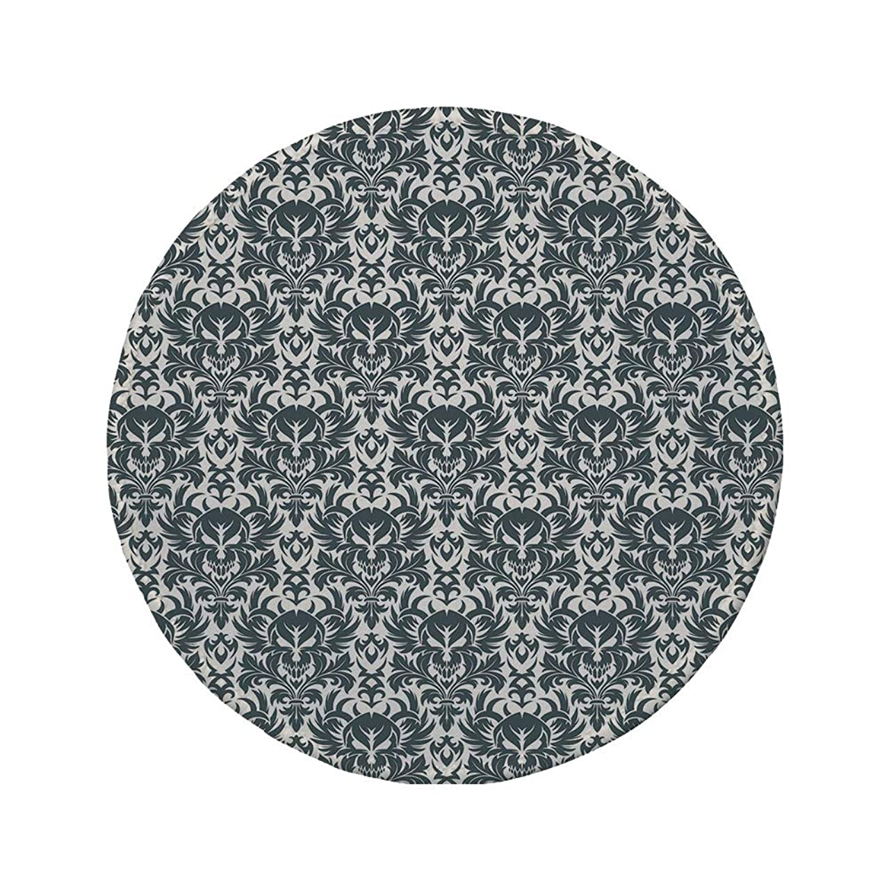 Non-Slip Rubber Round Mouse Pad,Gothic,Damask Inspired Ornamental Flourishes Abstract Floral Skull Motif Royal Foliage Decorative,Grey White,11.8