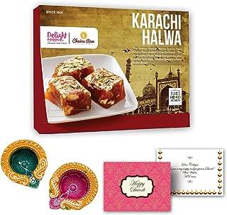 Delight Foods Indian Festive Diwali Sweet Gift Box - Chaina Ram Karachi Halwa Sweet with Happy Diwali Greeting Card & Diwali Diyas for Decoration