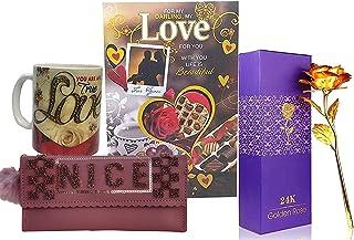 Saugat Traders Love Gift for Girls & Women - Love Greeting Card-Women's-Wallet-Artificial Golden Rose-Love Coffee Mug-Birt...