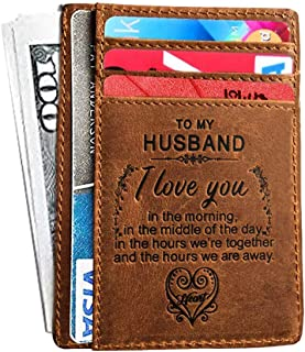 Mini Engraved Card Holder Handmade Anniversary Gift for Husband,boyfriend from Wife,Girlfriend Dad/Mom RFID Front Pocket Wallet