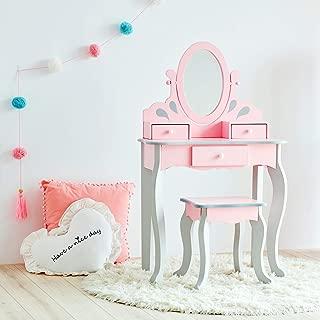 Teamson Kids Little Princess Rapunzel Kids Vanity Set with 3 Drawer and Mirror, Pink/ Grey