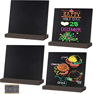 BUSOHA Mini Tabletop Chalkboard Signs/Small Chalkboard Message Board Wooden Stands for Food Party Wedding Bar Event Decoration (5x6 Inch Set of 4 with Eraser)